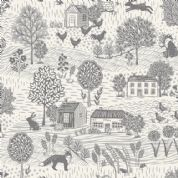 Grove by Makower UK - 6736 - Countryside Scenic, Grey on Off White  - 2159_S2 - Cotton Fabric